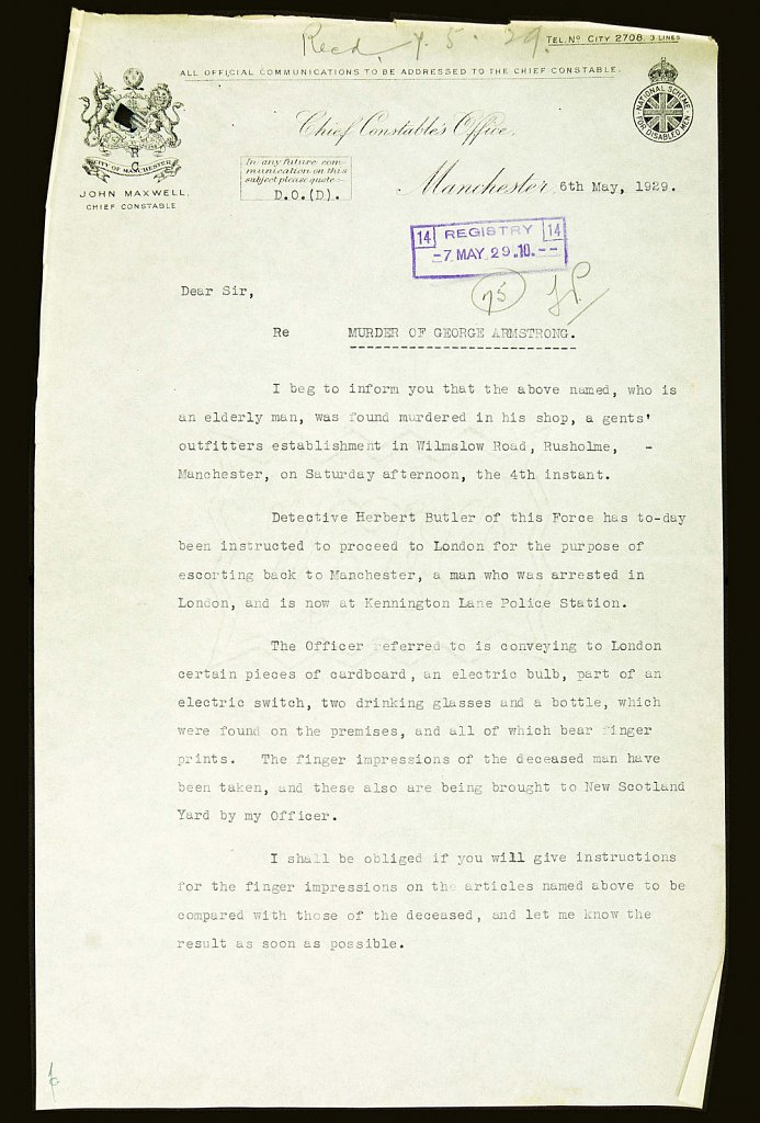 Police Letter  (George Armstrong): Page 1